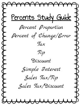 Percents - Study Guide