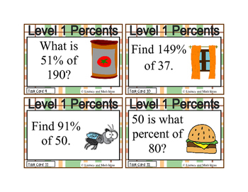 Percents Task Cards (Guided Math Level 1)