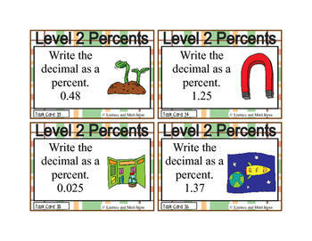 Percents Task Cards (Guided Math Level 2)