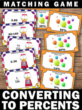40 Converting Fractions Decimals and Percents, 6th Grade Fraction Task Cards