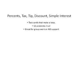 Percents, Tax, Tip, Discount, Simple Interest, Scavanger Hunt