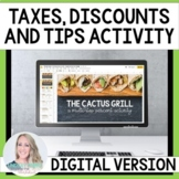 Percents - Taxes, Tips and Discounts Digital Activity for