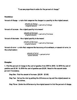 Percents Unit Note Packet