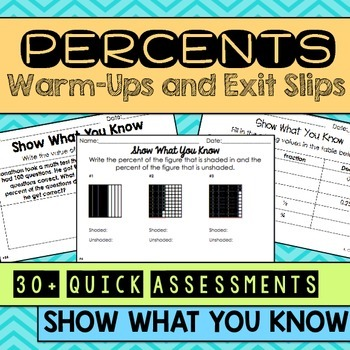 Percents Warm Ups & Exit Slips
