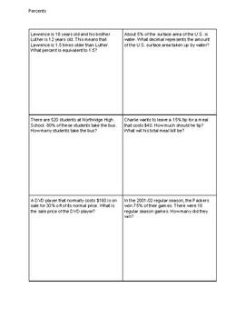 Percents Word Problems