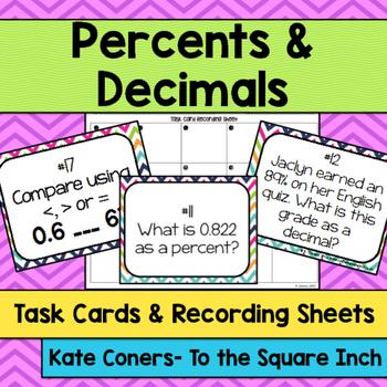 Percents and Decimals Task Cards