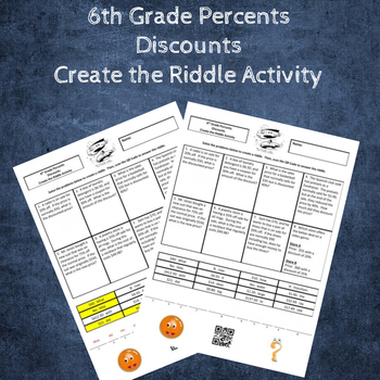6th Grade Percents:  Discounts Create the Riddle Activity