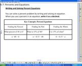 Percents and Equations Smartboard Lesson