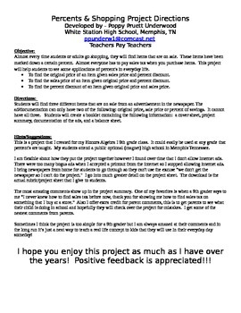 Percents and Shopping Real Life Algebra Project
