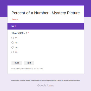 Percents of a number - Animals Mystery Picture - Google Forms