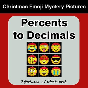 Percents to Decimals - Christmas EMOJI Color-By-Number Mystery Pictures