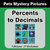Percents to Decimals - Color-By-Number Mystery Pictures -