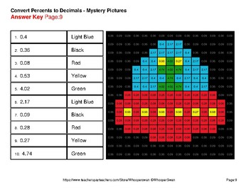 Percents to Decimals - Color-By-Number Mystery Pictures - Space theme