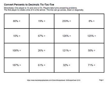 Percents to Decimals Tic-Tac-Toe