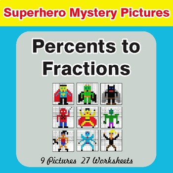 Percents to Fractions - Color-By-Number Math Mystery Pictures