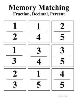 Percents to Fractions Memory Matching Game