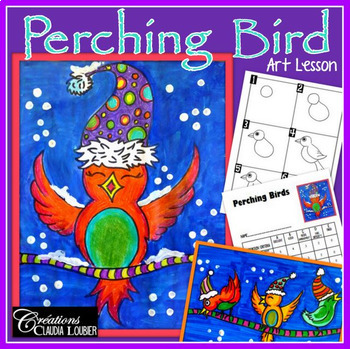 Winter Art Activity and Lesson Plan for Kids: Perching Bird, Winter, Christmas