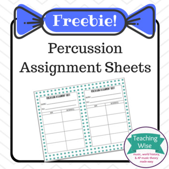 Percussion Assignment Sheet