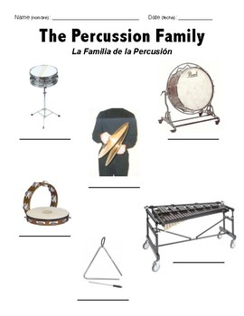 Percussion Family ELL Worksheet