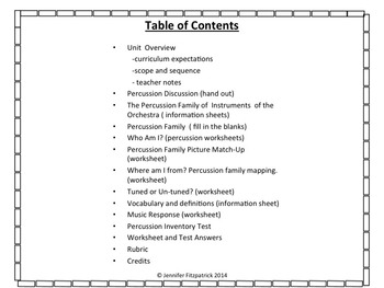 Percussion Family Student Workbook and Assessment