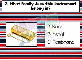 Percussion Instrument Families (Wood, Metal, Membrane) Mini Quiz
