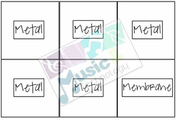 Wood, Metal, Membrane Percussion Instrument Matching Game