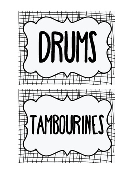 Percussion Instrument Labels for General Music Classroom