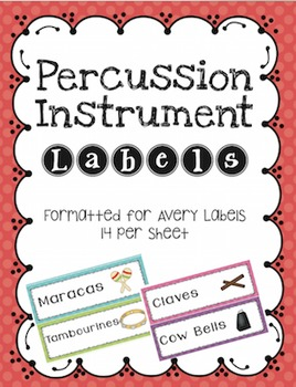 Percussion Instrument Labels Avery 14 per Sheet Stickers #MusicTeacher101Manage