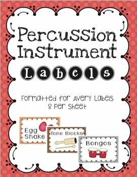 Percussion Instrument Labels Avery 8 per Sheet Stickers