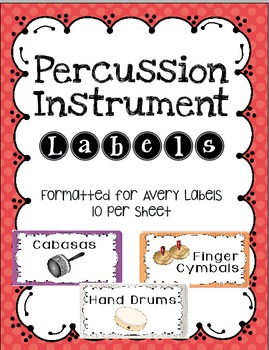 Percussion Instrument Labels Avery Stickers 10 per Sheet