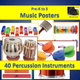 Percussion Instrument Posters and Labels - Pre-K to 5