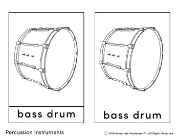 Percussion Instruments 3 Part Cards