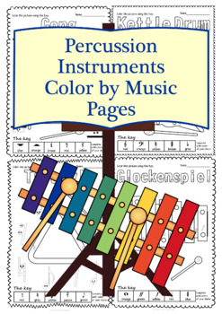 Percussion Instruments Color by Music Pages
