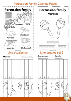 Percussion Instruments Line Puzzles