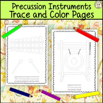 Percussion Instruments Trace and Color Pages