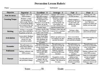 Percussion Lesson Rubric