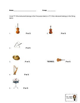 Percussion/String Instrument Quiz
