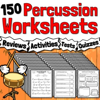 26 Percussion Worksheets - Tests, Quizzes, Homework, Class Reviews or Sub Work!