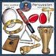 Percussion instruments clip Art BUNDLE SET- 113 items.