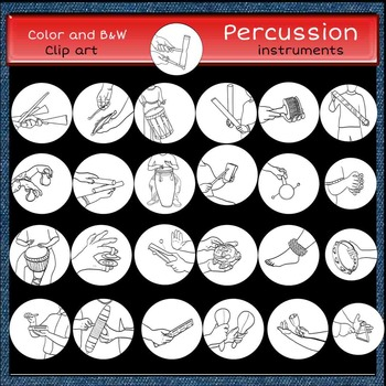 Percussion instruments clip art set 2 -Color and B&W- 50 items!
