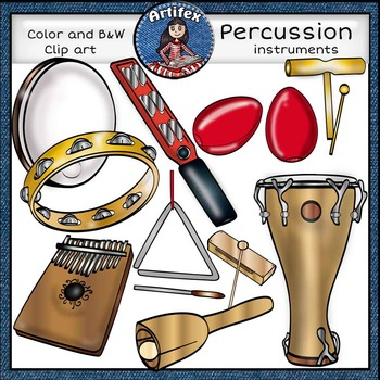 Percussion instruments clip art set1 -Color and B&W-63 items!