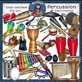 Percussion instruments clip art set1 -Color and B&W-63 items!