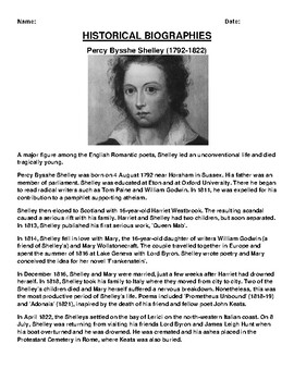 Percy Bysshe Shelley  Biography Article and (3) Assignments