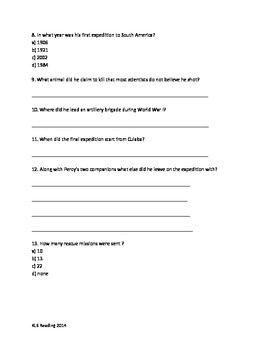 Percy Fawcett Review Article Questions Vocabulary PDF Format