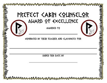 Percy Jackson Award Certificates - Cabin Related