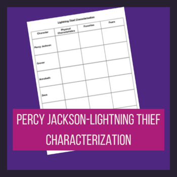 Percy Jackson- Lightning Thief Characterization