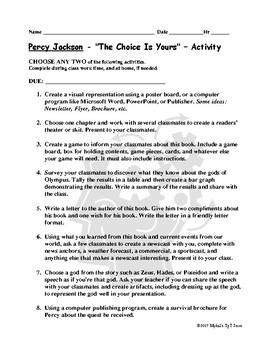 Percy Jackson Lightning Thief Choice Items