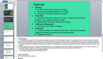 Percy Jackson Lightning Thief Module 1 Unit 3 Presentation EngageNY (editable)