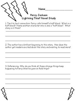 Percy Jackson Lightning Thief Novel Study