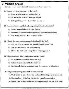 Percy Jackson Lightning Thief Test: Final Book Quiz with Answer Key